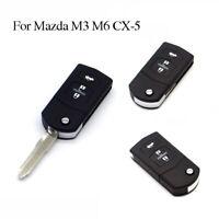 Uncut Blade Flip Keyless Entry Remote Folding Key Fob Shell For Mazda M3 M6 CX-5