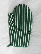 Traditional Green Stripe Oven Glove - Padded Oven Gloves / Mitt - BNWT