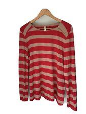MEREDITH & MOORE ladies long sleeve stretch stripe womens winter top M medium