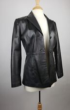 CLIO Womens Size 4 Black Leather Fitted Lined Long Sleeve Blazer Jacket