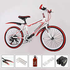 Red 20 inch Kids Mountain Bike ,7 Speed MTB ,Front V-brakes ,Rear Disc Brake