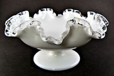Vintage Fenton Milk Glass Compote Candy Dish Ruffle Clear Edge (LE)