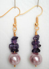 Amethyst nugget and shell pearldrop earrings gold plated hooks Approx. 4cm