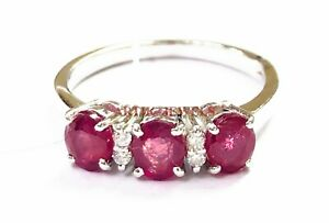 Natural Ruby Gemstone with 925 Sterling Silver Ring for Women's #4420