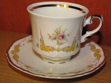 Mokka-,Espresso-,Sammeltasse m.Untertasse,gemarkt:Mitterteich,Blumen/Goldränder