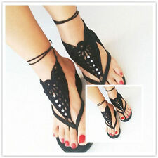 Barefoot Sandals Crochet Foot Jewelry Ankle Anklet Black Cotton Bracelet Chain
