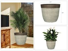 """Drop-In Resin Planter Pot Natural Stone finish Indoor/Outdoor Large Plants 11.5"""""""