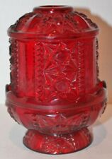 "Vintage Indiana Glass Stars and Bars Glass Fairy Lamp -Ruby Red - 6.5"" Tall"