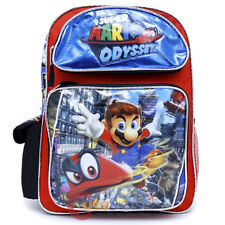 "Super Mario Large School Backpack 16"" Boys Book Bag Mario Odyssey"