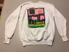 Men's Vintage Surf Club Long Sleeve Sweat Shirt SZ XL White Cotton PINK USA C24