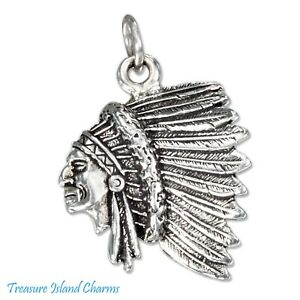 Native American Indian Chief Head in Headdress 925 Sterling Silver Charm Pendant