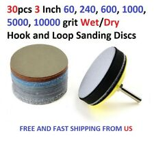 30pcs 3 Inch 60,240,600,1000,5000,10000 grit Wet/Dry Hook and Loop Sanding Discs
