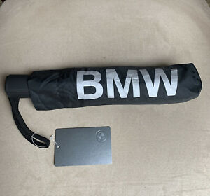 BMW Black Umbrella 37-inch Diameter Auto Open Silver BMW Letters #80230439653