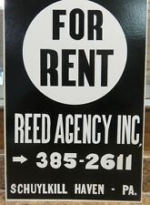 Vintage For Rent Sign Reed Agency Schuylkill Haven PA