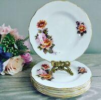 """6 Vintage Pink Orange Floral DUCHESS Tea Plates Side Plates 6.5"""" Cottagecore"""