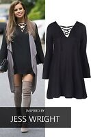 NEW WOMENS LADIES CELEBRITY LONG SLEEVE LACE UP TIE V NECK SWING DRESS TUNIC TOP