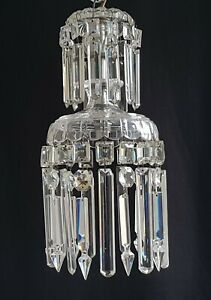 VINTAGE CRYSTAL GLASS PENDANT CEILING LIGHT - TWO TIER CHANDELIER PRISMS LUSTRES