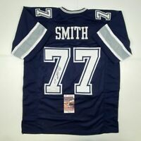 Autographed/Signed TYRON SMITH Dallas Blue Football Jersey JSA COA Auto