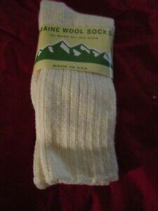 1 Pair Large Maine 95% Merino Wool Ragg Crew Sock 9-12 Made in USA Off White