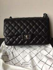 NEW AUTHENTIC CHANEL BLACK JUMBO LAMBSKIN SILVER CLASSIC HANDBAG