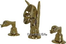 Gold Brass Swan Sink Faucet Match our Tub Sets AllBrass PVD Finish Free Ship 820