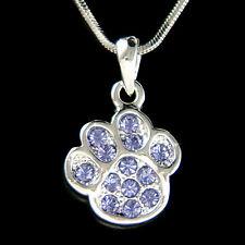 w Swarovski Crystal ~Purple Dog KITTY CAT Kitten Pawprint Paw Print Necklace New