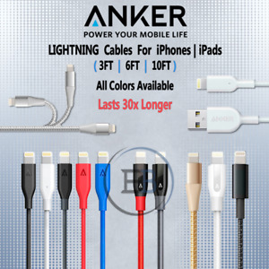 Anker Phone Cable 3/6/10 FT Black White Red & more lot For 11 XS 7 6 S All Color