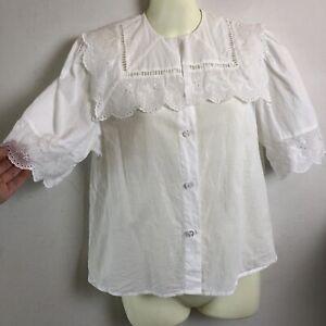 *DFSS* Alice McCall Size 6 White Rabbit Top Lace Collar Trim 100% Cotton