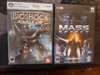 2 Pc games lot: Bioshock, Mass Effect Manuals Included. DVD