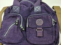 Kipling Purple Nylon Messenger Tote Bag Shoulder Handbag Mauve Purse Medium VGC