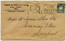 IRELAND 1935 PRINTED ENVELOPE LUNHAM BROTHERS CORK to LIVERPOOL 2d