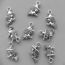 15pcs Tibetan Silver Witch on Broomstick Pendant Halloween Charms