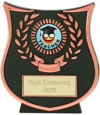 Emblems-Gifts Curve Bronze Teacher Trophy With Free Engraving
