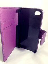 PURPLE Plain Wallets Case Cover with Card Slots and clip for Apple iPhone 4/4S