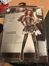 New Black Fallen Angel Bad Dark Fairy Fancy Dress Halloween Womens Adult Costume
