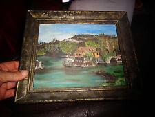 Petit Tableau Peinture Moulin-Pont sur l'eau non situé / Gouache sur Novopan