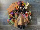 Happy Halloween Raz Witch Large 3D Wreath Fall Orange Purple Floral Front Door