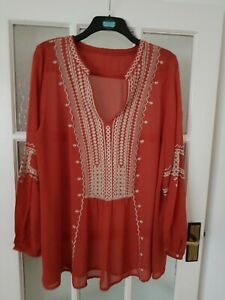 MONSOON  embroidered  long sleeve top/blouse size 18-20