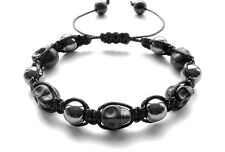 Men's bracelet stone shamballa beaded wristband cuff HEMATITE SKULL jewelry gift