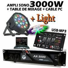 Pack SONO JEUX DE LUMIERE Table de Mixage USB + 1 Ampli 3000W + 1 PARLED181