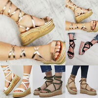 Women Platform Sandals Espadrilles Chunky Lace Up Wedge Summer Casual Shoes Size