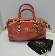 NEW Coach Madison Coral Patent Leather Large Sabrina #12957