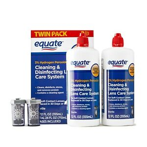 Equate Cleaning & Disinfecting Contact Lens Care System 12oz Bottle Twin Pack
