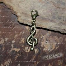 Notenschlüssel Charm für Bettelarmband, Wechselanhänger, antik bronze, Musik