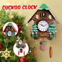 "25"" Large Size Wood Cuckoo Clock Green Hut Swing Wall Alarm Art Handcraft Decor"