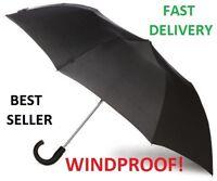 NEW Premium Windproof Vented Auto Open & Close Mens Ladies Black Umbrella B4 16