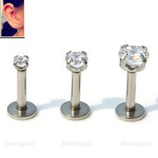 3pc 16G 316L Steel CZ Gem Lip Monroe Ring Ear Cartilage Stud Earrings Piercing