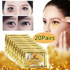 20pc 24K Gold Crystal Collagen Eye Mask Patch Gel Wrinkle Anti Aging Dark Circle