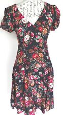 Dorothy Perkins Tea Dress Size 10 NWT Black Red White Floral