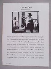 Richard Avedon Limited Edition Photographs PRINT AD - 1978 ~~ Dorian Leigh